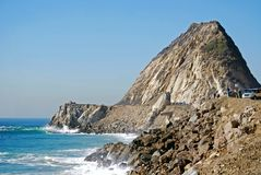 The Rock on PCH. Rock jets up to the sky on the coastline near Los Angeles and Malibu, California in Point Mugu State Park Royalty Free Stock Image