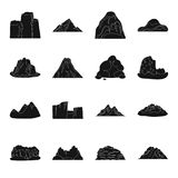Rock, peak, volcano, and other kinds of mountains. Different mountains set collection icons in black style vector symbol Stock Photography
