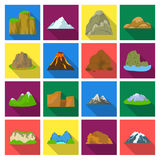 Rock, peak, volcano, and other kinds of mountains. Different mountains set collection icons in flat style vector symbol Royalty Free Stock Image