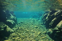 Rock and pebbles underwater river clear freshwater. Rocks and pebbles underwater in a river with clear freshwater, Dumbea, New Caledonia, south Pacific Royalty Free Stock Photography
