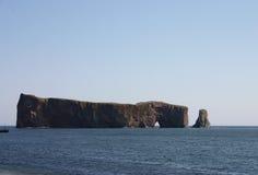 Rock perce. Impressive view of giant rock perce at north of gaspesie peninsula stock image