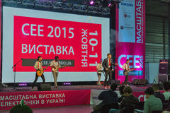 Rock performance at CEE 2015, the largest electronics trade show in Ukraine. Unrecognized rock band performance during CEE 2015, the largest electronics trade Stock Image