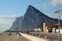 The Rock - Gibraltar. The Rock photographed from the Maritime Walk Paseo del Mediterráneo - La Línea de la Concepción, Andalusia, Spain Stock Photography