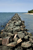 Rock pier on lake Royalty Free Stock Photography