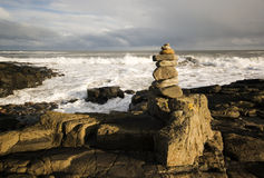 Rock pile. A rock pile on the rugged Northumberland coast stock images