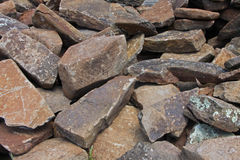 Rock pile. Pile of flat textured rocks Royalty Free Stock Photo