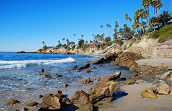 Rock Pile Beach below Heisler Park, Laguna Beach, California. The image shows the southern part of Rock Pile Beach which lies directly below Heisler Park royalty free stock photo