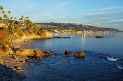 Rock Pile Beach below Heisler Park, Laguna Beach, California. The picturesque Rock Pile Beach lies directly below Heisler Park on the bluff at upper left. The royalty free stock photo
