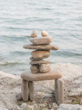 Rock Piles. Inukshuk rock piles by Lake Ontario in Oakville, Ontario, Canada Royalty Free Stock Image