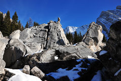 Rock piles and mountains Stock Photo