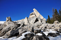 Rock piles and mountains Royalty Free Stock Images