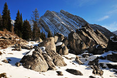 Rock piles and mountains Royalty Free Stock Image