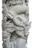Rock Pillar with Chinese Dragon isolated on white Stock Photos