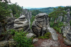 Rock pillar nature park. View from the mountain tops. Rock pillar nature park in the Czech Republic. View from the mountain tops Stock Photo
