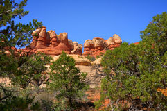 Rock Pinnacles. Carved by the nature in Canyonlands National Park Stock Photos