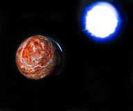 Rock planet and blue sun on black background Stock Image