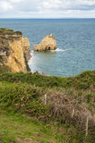 Rock at Pointe-du-Hoc in France Royalty Free Stock Image