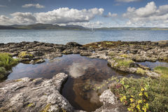 Rock pool at Clach na Criche on the Sound of Mull. Rock pool at Clach na Criche in Ardnamurchan on the Sound of Mull in Scotland Stock Photos
