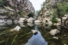 Rock Pool at Malibu Creek State Park in California. Rock Pool picnic area at Malibu Creek State Park in the Santa Monica Mountains near Los Angeles, California Stock Photos