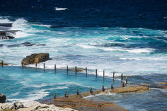 The rock pool at Maroubra beach. Beautiful seascape of the rock pool at Maroubra beach in Sydney, Australia Royalty Free Stock Photos