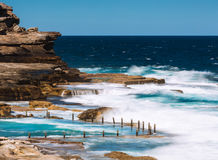 The rock pool at Maroubra beach. Beautiful seascape of the rock pool at Maroubra beach in Sydney, Australia.  long exposure shot Stock Image