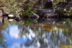 Rock pool reflections. Reflections in a rock pool at Blackdown Tablelands National Park in Queensland, Australia Stock Image