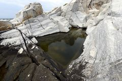 Rock pool with rushing water and seaweed Royalty Free Stock Photography