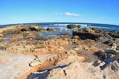 Rock Pools-Fisheye lens Rugged Beach Terrain  Royalty Free Stock Images
