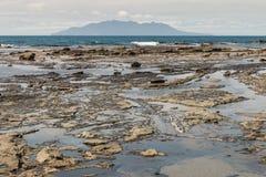 Rock pools at Omaha Bay beach Royalty Free Stock Photo