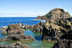 Rock pools on the seafront. In Madeira Island Stock Photo