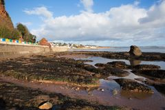 Rock pools and view to Dawlish Devon England uk Royalty Free Stock Photography