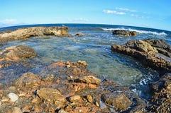 Rock pools - Fisheye Lens Rocky Coastline Stock Photos