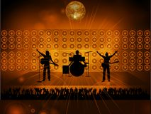 Rock pop band on stage and crowd Royalty Free Stock Images