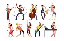 Rock and pop musicians vector cartoon characters. Young guitarists, drummers and singers artists isolated Stock Photography