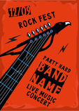 Rock poster with guitar riff. Music poster with a guitar riff in the shape of an eagle. Rock background vector illustration