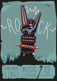 Rock poster with a hand. Design template with a vector illustration and text for rock music fans stock illustration
