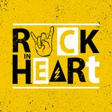 Rock poster. Rock in heart sign.Rock Slogan graphic for t shirt