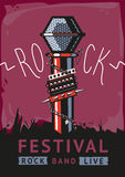 Rock poster with a microphone. Design template with a vector illustration and text for rock music fans Stock Images