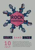 Rock poster template for a festival with octopus. Stock Image