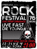Rock poster, vintage rock and roll typographic for t-shirt; tee design; poster; vector illustration Royalty Free Stock Photos