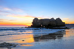Rock at Praia da Rocha Portimao Algarve Portugal at sunse Royalty Free Stock Images