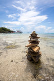 Rock Pyramid On The Beach Royalty Free Stock Images