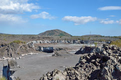 Rock quarry on the mountain slope Stock Photo