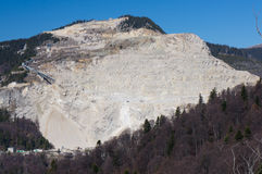 Rock quarry in the mountains Stock Image