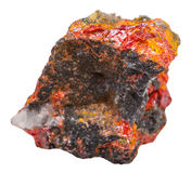 Rock with Realgar crystals isolated Stock Images