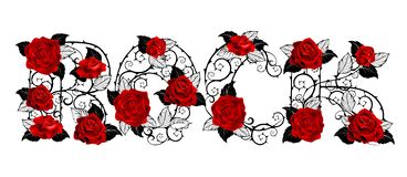 Rock of red roses on white background vector illustration