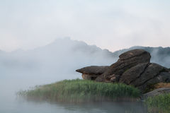 Rock and reeds in the mist on the lake Royalty Free Stock Image