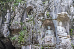 Rock reliefs at Feilai Feng grottos near Lingyin Temple in Hangzhou, China Stock Images