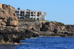 Rock, Residences, Cruise Ship from Es Forti, Cala d´Or, Cala Gran, Cala Esmeralda, Cala Ferrera to Porto Colom, Majorca Royalty Free Stock Photos
