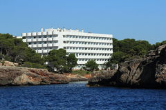 Rock, Residences, Cruise Ship from Es Forti, Cala d´Or, Cala Gran, Cala Esmeralda, Cala Ferrera to Porto Colom, Majorca Stock Images